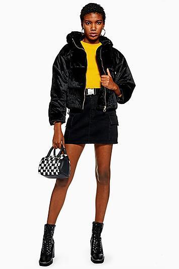 Topshop Petite Velvet Puffer Jacket