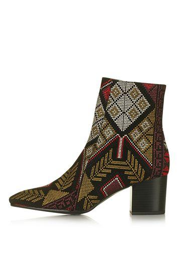 Topshop Mustard Embroidered Western Boots