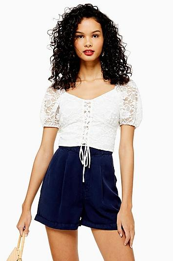 Topshop Tall Tie Up Lace Crop Top