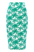 Topshop Tall Palm Print Pencil Skirt