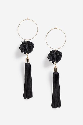 Topshop *hoop And Flower Tassel Earrings