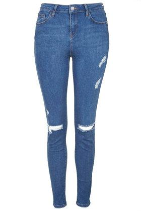 Topshop Tall Moto Blue Rip Jamie Jeans