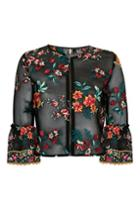 Topshop Floral Embroidered Jacket