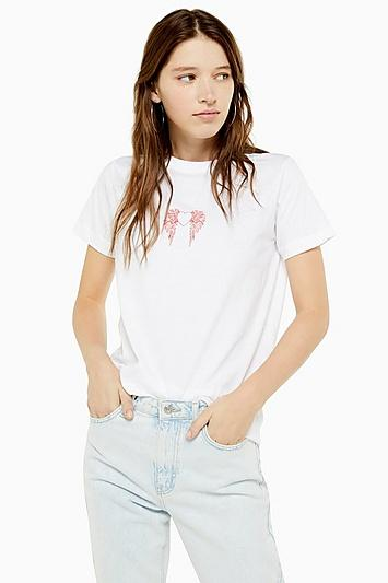 Topshop Feathered Heart T-shirt