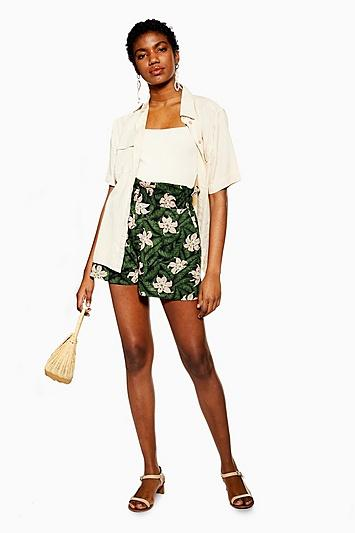 Topshop Green Hibiscus Floral Shorts