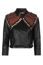 Topshop Embroidered Biker Jacket By Native Rose