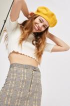 Topshop Tall Zip Popper Checked Mini Skirt