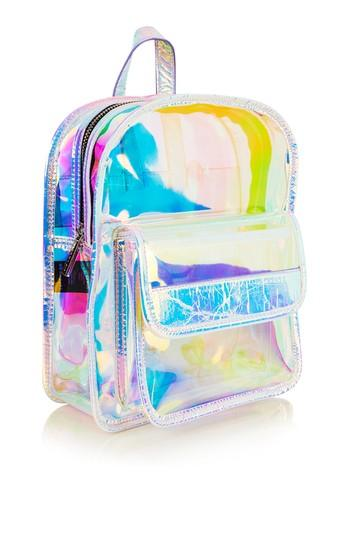 Topshop *clear Holographic Backpack By Skinnydip