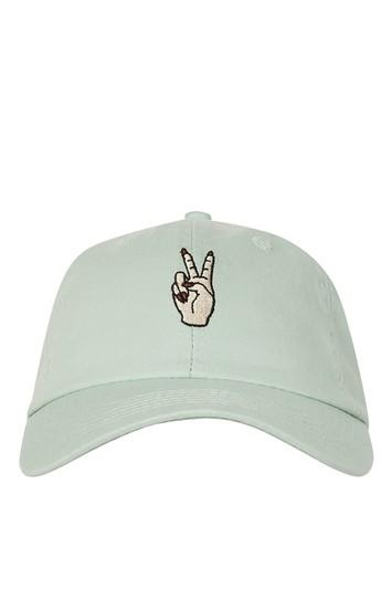 Topshop Peace Embroidered Washed Cap