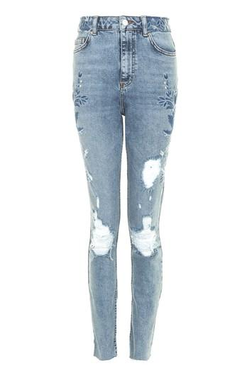 Topshop Petite Embroidered Straight Leg Jeans