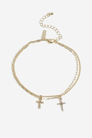 Topshop *double Cross Anklet