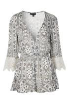 Topshop Floral Lace Playsuit