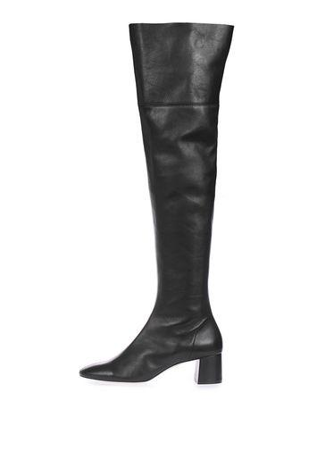 Topshop Caramel Leather High Knee Boots