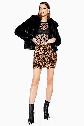 Topshop Textured Leopard Print Skirt