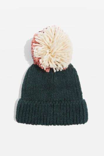 Topshop Mixed Pom Knit Beanie Hat