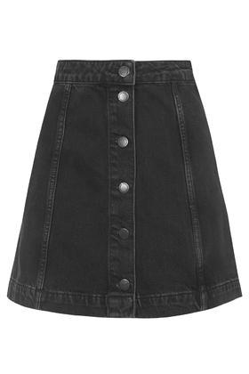 Topshop Moto Denim Button A-line Skirt