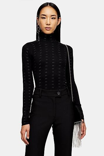 Topshop Black Knitted All Over Stud Funnel Jumper
