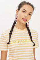Topshop Tall 'sacramento' Slogan Striped T-shirt By Tee & Cake