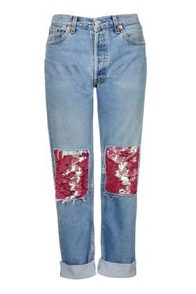 Topshop Sequin Patch Jeans By Topshop Finds