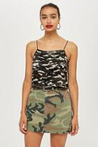 Topshop Cropped Camouflage Print Cami Top