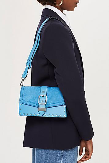 Topshop Blue Megan Buckle Cross Body Bag