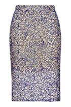 Topshop Petite Cord Lace Pencil Skirt