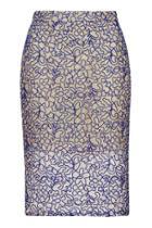 Topshop Petite Cord Lace Pencil Skirt