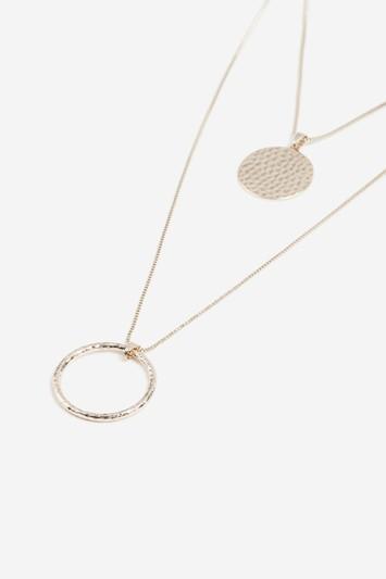 Topshop Beaten Disc And Circle Necklace