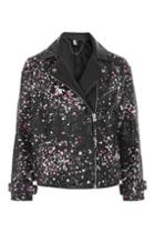 Topshop Painted Leather Biker Jacket