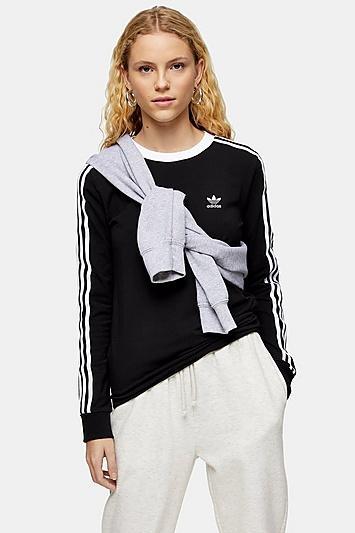 Topshop Black 3 Stripe T-shirt By Adidas