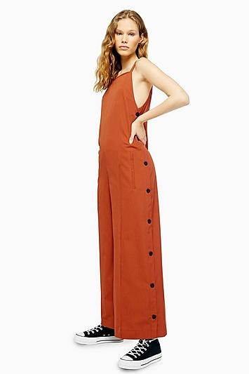 Topshop *wool Button Side Jumpsuit By Boutique