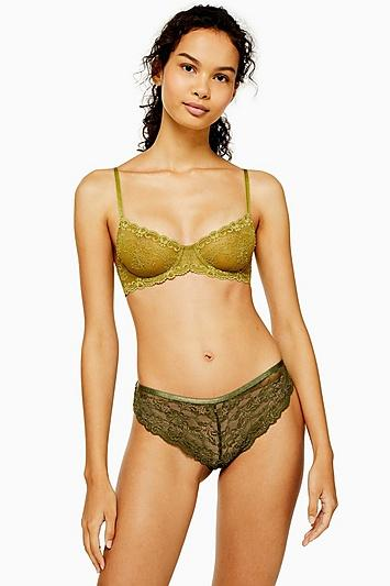 Topshop Olive Lace Brazilian Knickers