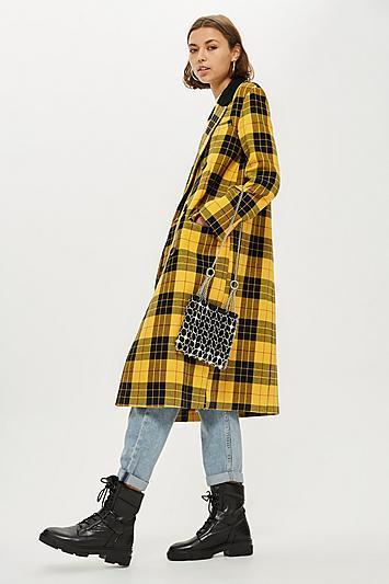 Topshop Yellow Tartan Coat