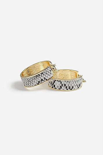 Topshop Snake Print Hoop Earrings