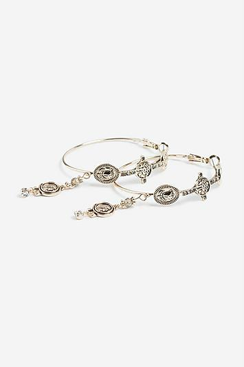 Topshop *coin Charm Hoop Earrings