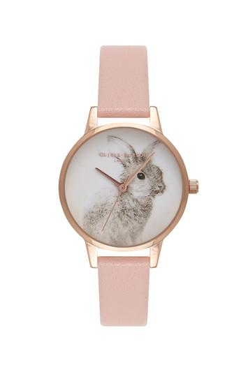 Topshop *woodland Bunny Dusty Pink Watch By Olivia Burton