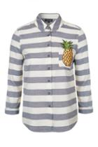 Topshop Pineapple Embroidered Shirt
