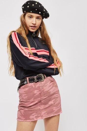 Topshop Moto Pink Camouflage Denim Skirt