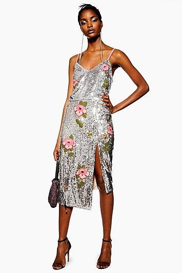 Topshop Sequin Embellished Pencil Skirt