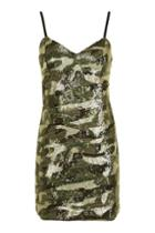 Topshop Camouflage Sequin Bodycon Dress