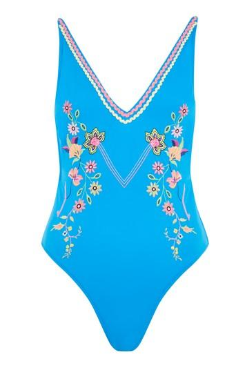 Topshop Bright Embroidered Swimsuit