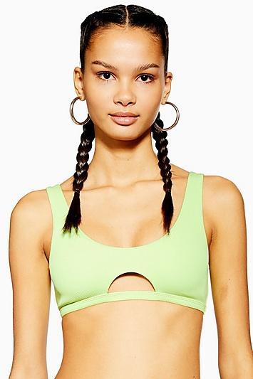 Topshop Neon Ribbed Cut Out Bikini Crop Top