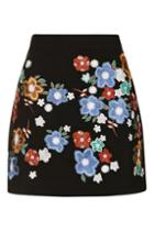 Topshop Floral Embroidered A-line Mini Skirt