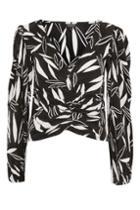 Topshop Monochrome Leaf Print Blouson Top
