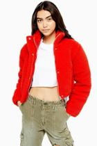 Topshop Cropped Borg Puffer