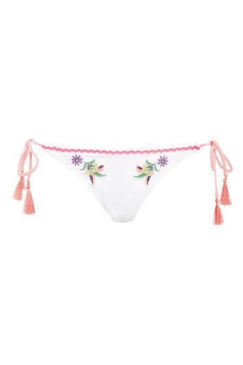 Topshop Embroidered Tie Side Bikini Bottoms