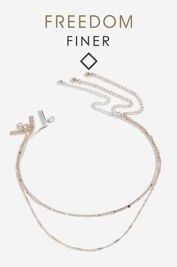 Topshop Freedom Finer Mixed Chain Necklace