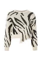 Topshop Zebra Print Fringe Jumper