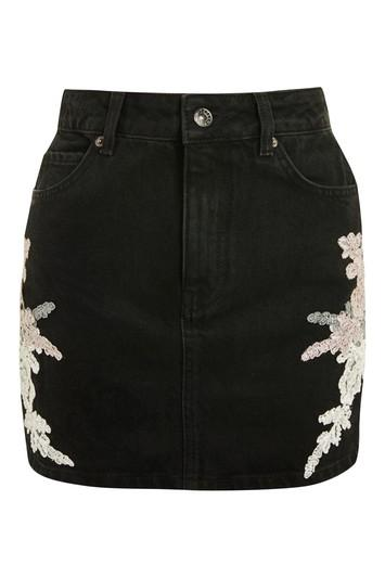 Topshop Moto Lace Applique Denim Skirt