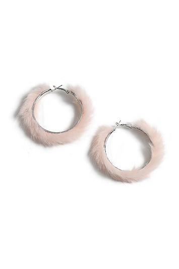 Topshop Pink Fur Hoop Earrings